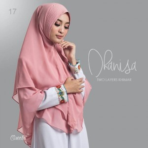 Jilbab Syar'i Two Layers Khimar Dhanisa Dusty Pink