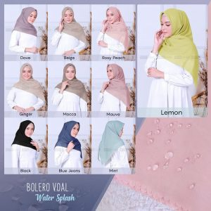 Jilbab Segiempat Cutting 115 x 115 Bolero Voal Watersplash